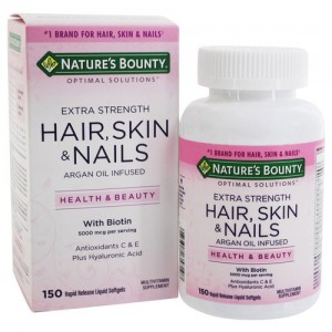 Natures Bounty Hair Skin and Nails 150 softgels Argan oil unfused