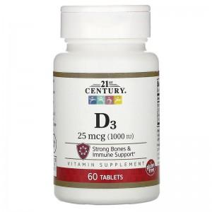 21 century Vitamin D3 1000 IU 60 tablets