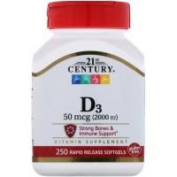 21 century Vitamin D3 2000 IU 250 tablets