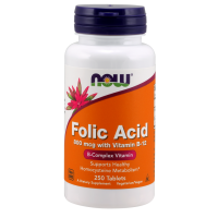 NOW Folic Acid 800 мкг with Vitamin B-12 250 таблеток