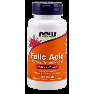 NOW Folic Acid 800 мкг with Vitamin B-12 250 таблеток