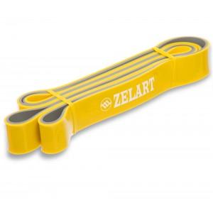 Резина для подтягиваний двухслойная лента силовая эспандер размер 2080x32x4,5мм жесткость M желтый
