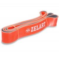 Резина для подтягиваний двухслойная лента силовая эспандер размер 2080x45x4,5мм жесткость L оранжевый