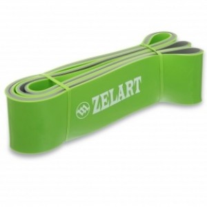 Резина для подтягиваний двухслойная лента силовая размер 2080x64x4,5мм жесткость XL зеленый