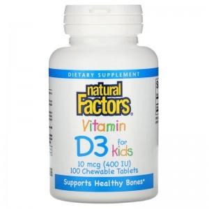 Natural Factors Kids Vitamin D3 400 IU 100 tabs