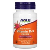 NOW Vitamin D3 2000 IU 120 softgels