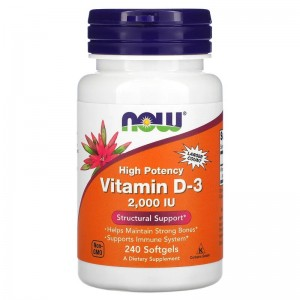 NOW Vitamin D3 2000 IU 240 softgels