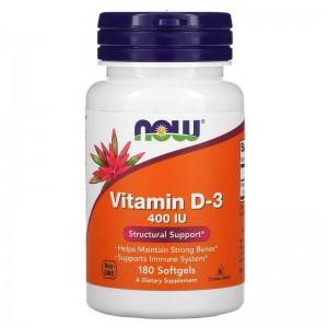 NOW Vitamin D3 400 IU 180 softgels