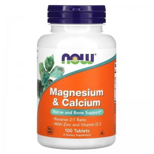NOW Magnesium and Calcium (D3 + Zinc) 100 tablets