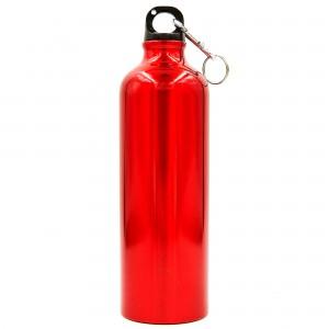 Бутылка для воды алюминиевая с карабином 750 мл Красный