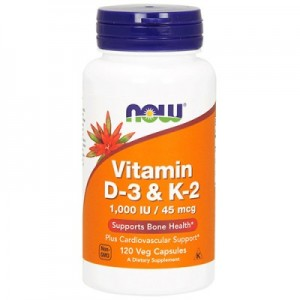 Now vitamin D-3 K-2 1000IU 120 капсул