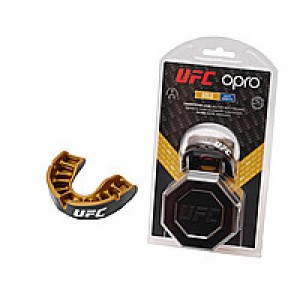 Капа OPRO Junior Gold UFC Hologram Black Metal/Gold