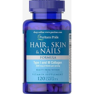 Puritans Pride Hair Skin and Nails Formula Type I and III Collagen 120 coated caplets