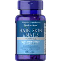 Puritans Pride Hair Skin and Nails Formula Type I and III Collagen 60 coated caplets