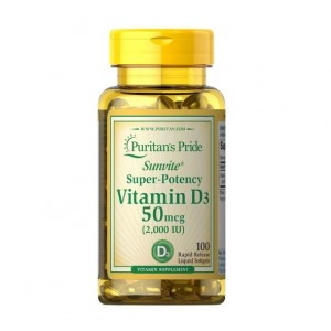 Puritans Pride Vitamin D3 2000 IU (50 mcg) 100 softgels