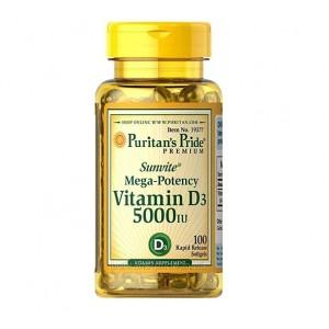 Puritans Pride Vitamin D3 5000 IU (125 mcg) 100 softgels