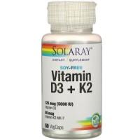 Solaray Vitamin D3 K2 60 veg caps