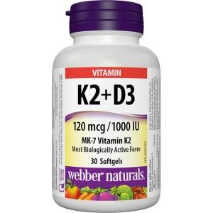 Webber Naturals Vitamin D3 1000 IU K2 120 mcg 30 softgels